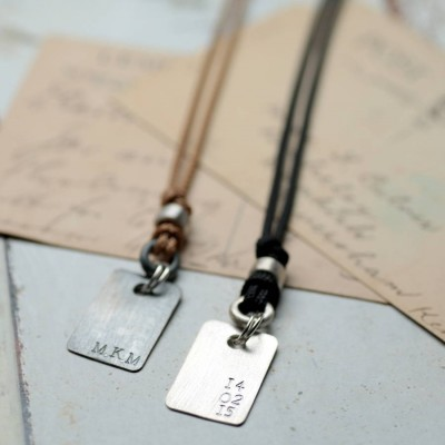 Personalised Corded Dog Tag Necklace - By The Name Necklace;