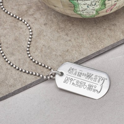 Personalised Location Coordinates Silver Necklace - By The Name Necklace;
