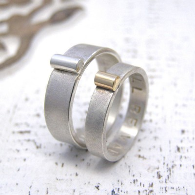 Personalised Silver And Gold His And Hers Rings - By The Name Necklace;