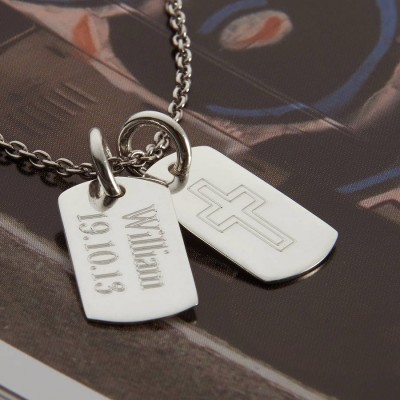 Personalised Sterling Silver Double Dog Tag Necklace - By The Name Necklace;