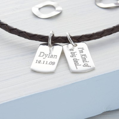 Personalised Silver Mini Dog Tag Leather Necklace - By The Name Necklace;