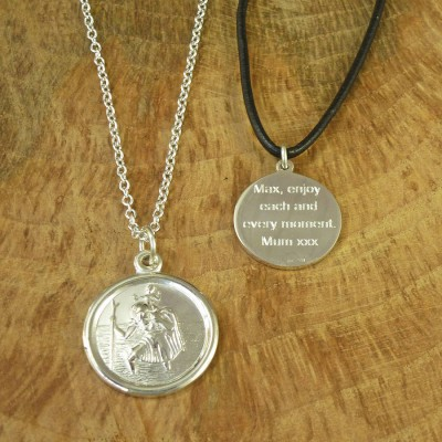 St Christopher Sterling Silver Necklace - By The Name Necklace;