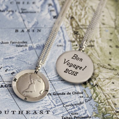 Personalised Globe Travel Necklace - By The Name Necklace;