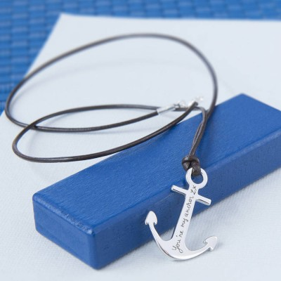 Mens Personalised Sterling Silver Anchor Necklace - By The Name Necklace;