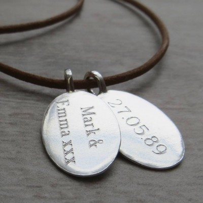 Silver Tag amp Leather Cord Necklace - By The Name Necklace;