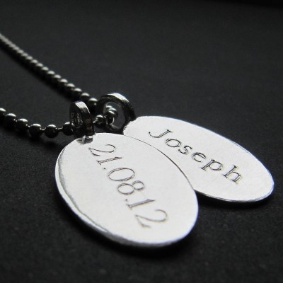 Silver Tag amp Ball Chain Necklace - By The Name Necklace;