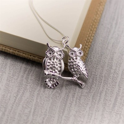 Silver Perched Owls Pendant - By The Name Necklace;