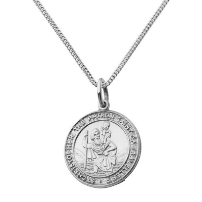 St Christopher Chunky Round Necklace - By The Name Necklace;