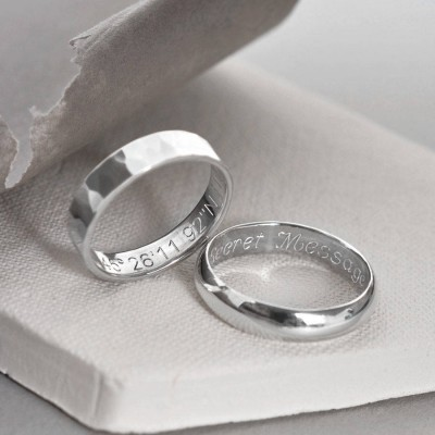 Sterling Silver Secret Message Ring - By The Name Necklace;
