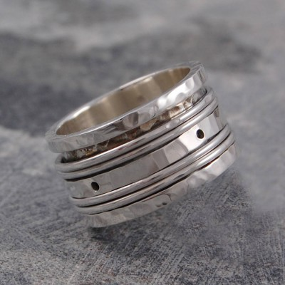 Sterling Silver Spinning Band Ring - By The Name Necklace;