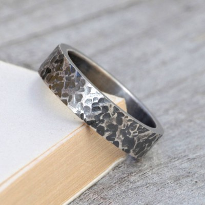 Personalised Textured Wedding Band In Oxidised Silver - By The Name Necklace;