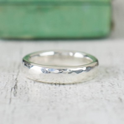 Unisex Hammered Sterling Silver Ring - By The Name Necklace;