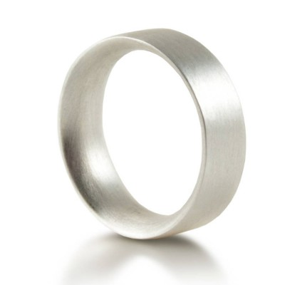 Mens Sterling Silver Wedding Ring Comfort Fit Matt - By The Name Necklace;