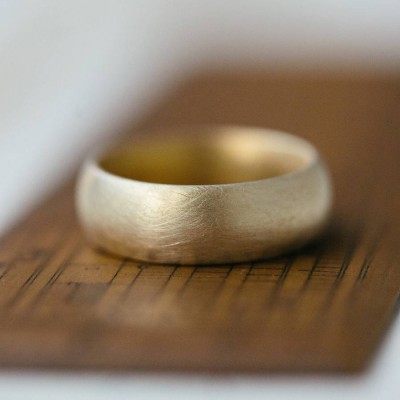 Wide Gents Soft Pebble Wedding Ring 18ct Gold - By The Name Necklace;