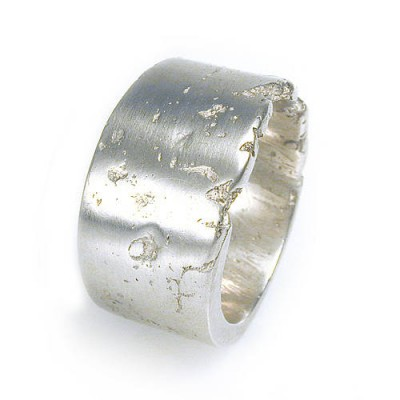 Wide Silver Concrete Ring - By The Name Necklace;